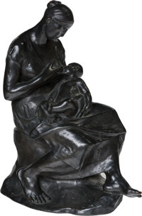 Russian School (20th Century) Madame in her Boudoir Bronze with dark brown patina 18-1/2 inches (47.0 cm) high Inscr