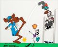 Animation Art:Presentation Cel, The Rocky and Bullwinkle Show Bullwinkle, Rocky, Boris andNatasha Scene Cel Signed (Jay Ward, 1989). ...