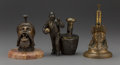 Decorative Arts, Continental, Three Metal Figural Cigar Cutters, late 19th century . 7 x 4 x 5inches (17.8 x 10.2 x 12.7 cm). ... (Total: 3 Items)