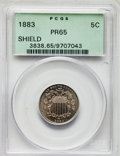 Proof Shield Nickels, A Lot of Two Shield Nickels PR65 PCGS. The lot includes an 1882 and an 1883. The coins are separately housed in gree... (Total: 2 coins)