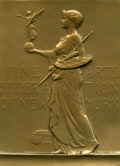 (1904) Fine Arts Federation of New York Uniface Plaquette. Smedley-61. Bronze, 79 x 106 mm. Engraver is Victor D. Brenne...