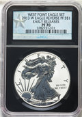 2013-W $1 Reverse Proof Silver Eagle, West Point Eagle Set, Early Releases PR70 NGC. NGC Census: (31534). PCGS Populatio...