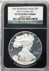 2012-S $1 Silver Eagle, 25th Anniversary Set PR70 Ultra Cameo NGC. NGC Census: (9026). PCGS Population: (1799). CDN: $83...