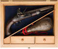 Handguns:Muzzle loading, Cased A. Waters 1837 Flintlock Pistol.. ...