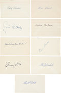 Baseball Collectibles:Others, 1930's-'40's Baseball Hall of Famers Signed Index Cards Lot of 9 with Foxx....