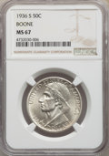 Commemorative Silver, 1936-S 50C Boone MS67 NGC. NGC Census: (33/4). PCGS Population: (76/3). CDN: $660 Whsle. Bid for problem-free NGC/PCGS MS67...
