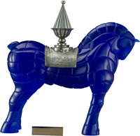 A Daum Pate-de-Verre Glass and Silvered Metal Cheval Porteur de Feu Sculpture, Nancy