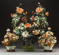 Five Chinese Hardstone Floral Arrangements, 20th century 20-1/2 x 11 inches (52.1 x 27.9 cm) (largest)