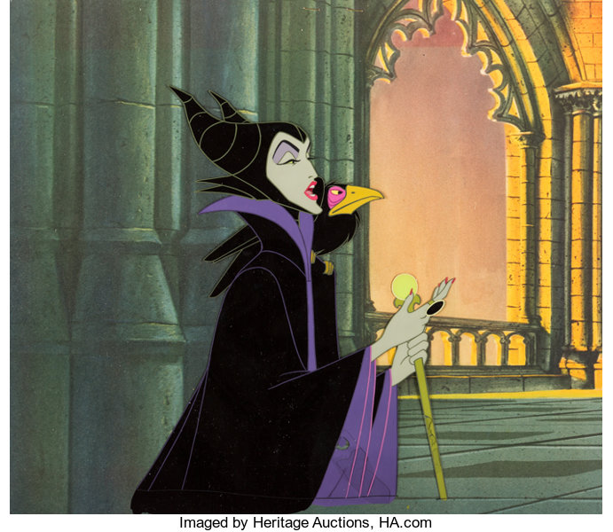 Sleeping Beauty Maleficent and Diablo Production Cel (Walt Disney