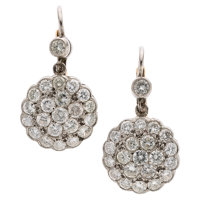 Diamond, Platinum, Gold Earrings