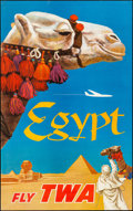 """Movie Posters:Miscellaneous, TWA Airlines Egypt (Early 1960s). Rolled, Very Fine-. Travel Poster (25"""" X 40""""). David Klein Artwork. Miscellaneous.. ..."""