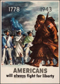 """Movie Posters:War, World War II Propaganda (U.S. Government Printing Office, 1943). Linen, Fine/Very Fine. OWI Poster No. 26 (28.5"""" X 40"""") """"Ame..."""