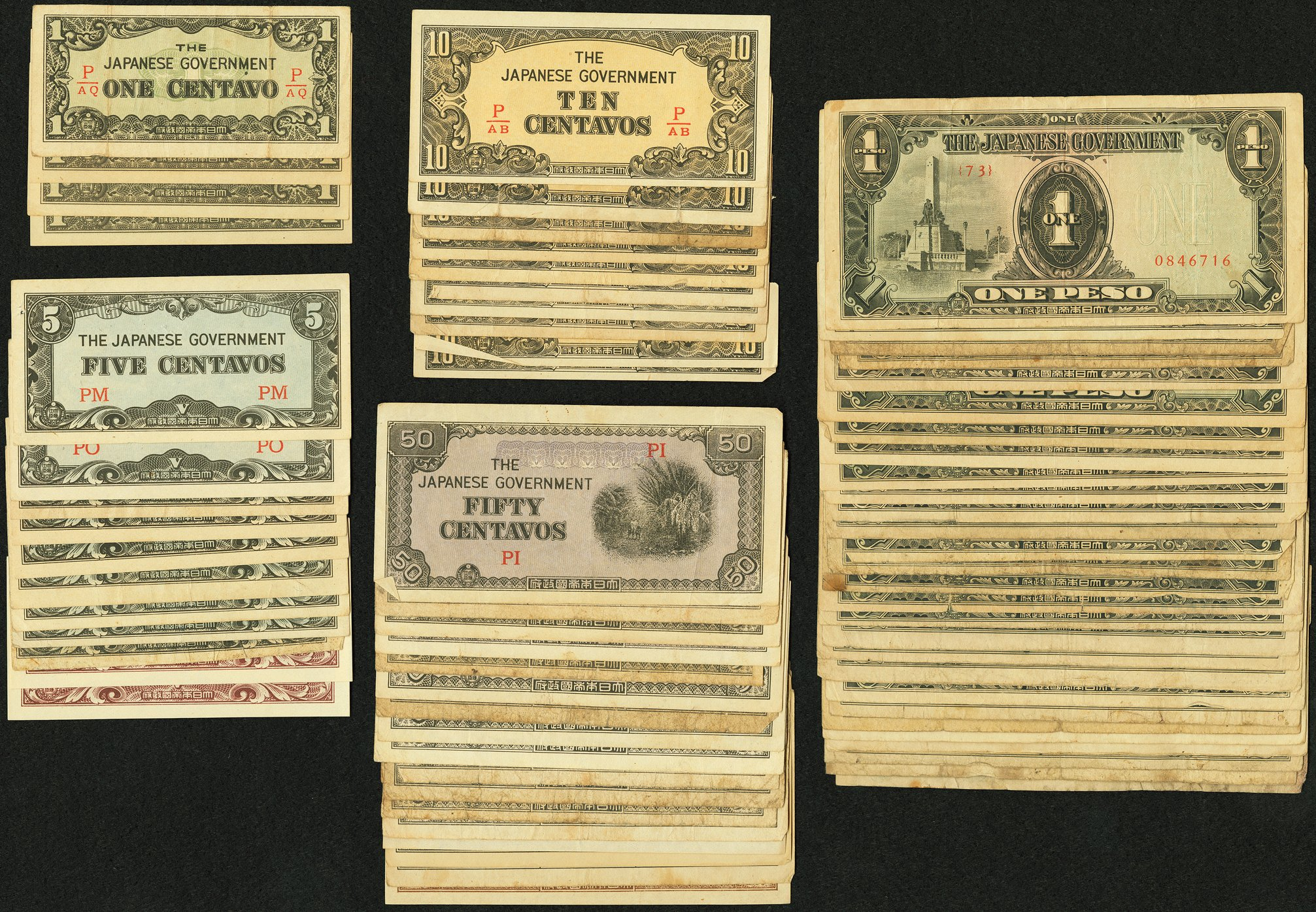Philippines Japanese Invasion Money Group Lot of 84 Examples