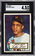 Baseball Cards:Singles (1950-1959), 1952 Topps Willie Mays #261 SGC VG/EX+ 4.5. From o...