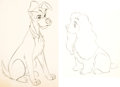 Animation Art:Production Drawing, Lady and the Tramp Animation Drawings Group of 2 (Walt Disney, 1955).... (Total: 2 Original Art)