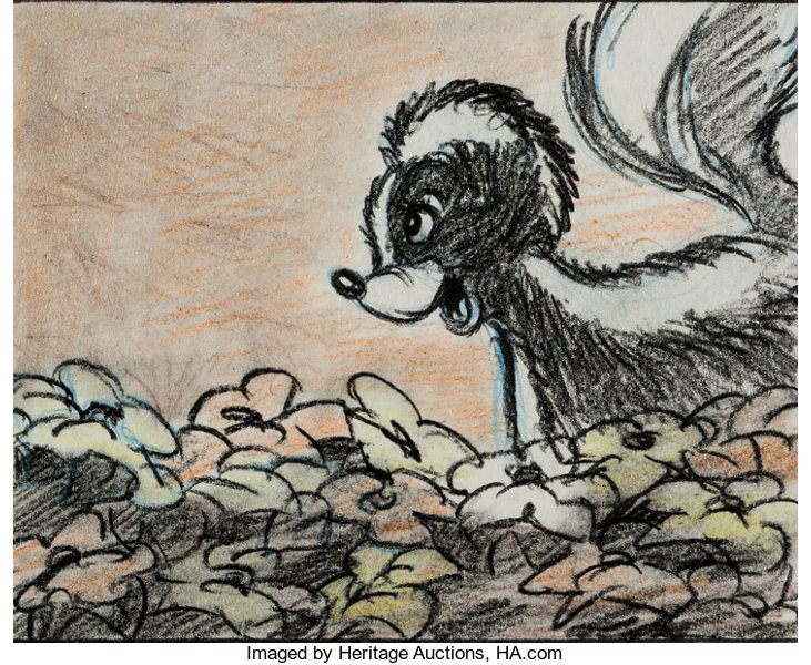 Bambi Flower Storyboard Art (Walt Disney, 1942)     Animation Art