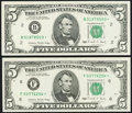 Small Size:Federal Reserve Notes, Fr. 1979-B*; F* $5 1988 Federal Reserve Star Notes. Choice Crisp Uncirculated.. ... (Total: 2 notes)
