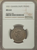 Guadeloupe: French Colony Franc 1921 MS64 NGC