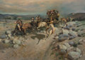 Fine Art - Painting, American, Lajos Markos (Hungarian/American, 1917-1993). StagecoachAttack. Oil on canvas. 42 x 60 inches (106.7 x 152.4 cm).Signe...