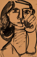 Works on Paper:Drawing, Marcel Mouly (French, 1918-2008). Tete de femme, 1949. Ink wash on paper. 16-1/4 x 10-1/4 inches (41.3 x 26.0 cm) (sight...