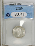 Coins of Hawaii: , 1883 25C Hawaii Quarter MS61 ANACS. NGC Census: (22/492). Mintage:500,000. (#10987)...