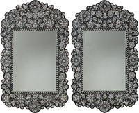 A Pair of Moorish-Style Mother-of-Pearl Inlay and Ebonized Wood Mirrors, late 19th-early 20th century 60 x 38-1/4