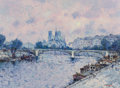 Paintings:Contemporary   (1950 to present), Jean-Pierre Dubord (French, b. 1949). Paris at Dawn. Oil on canvas. 23-1/8 x 31-1/2 inches (58.7 x 80.0 cm). Signed lowe...