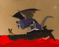 Animation Art:Production Cel, All Dogs Go to Heaven Charlie and Demon Production Cel Setup(Amblin/Bluth, 1989). ...