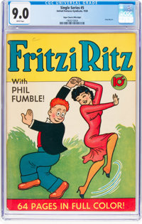 Single Series #5 Fritzi Ritz (#1) Mile High Pedigree (United Feature Syndicate, 1939) CGC VF/NM 9.0 White pages