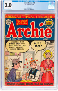 Archie Comics #60 (Archie, 1953) CGC GD/VG 3.0 Off-white to white pages