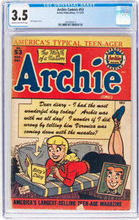 Archie Comics #53 (Archie, 1951) CGC VG- 3.5 Cream to off-white pages