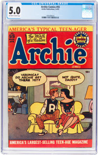 Archie Comics #55 (Archie, 1952) CGC VG/FN 5.0 Off-white to white pages