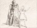 Animation Art:Concept Art, Alice in Wonderland Alice and the Executioner Concept Drawing by David Hall (Walt Disney, 1939)....