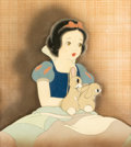 Animation Art:Production Cel, Snow White and the Seven Dwarfs Snow White and RabbitsProduction Cel Courvoisier Setup (Walt Disney, 1937)....