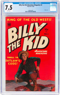 Billy the Kid Adventure Magazine #2 (Toby Publishing, 1950) CGC VF- 7.5 White pages