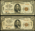 National Bank Notes:Missouri, Saint Louis, MO - $5 1929 Ty. 1 The Security NB Savings & TCCh. # 12066 Very Good-Fine;. Saint Louis, MO - $5 1... (Total: 2notes)