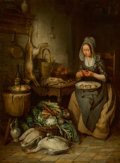 Paintings:Antique  (Pre 1900), Charles van Meer (Belgian, 1810-1868). The larder, 1844. Oil on panel. 19-5/8 x 14-5/8 inches (49.8 x 37.1 cm). Signed a...