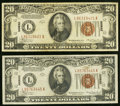 Small Size:World War II Emergency Notes, Fr. 2305 $20 1934A Hawaii Federal Reserve Note. Two Examples. VeryFine.. ... (Total: 2 notes)