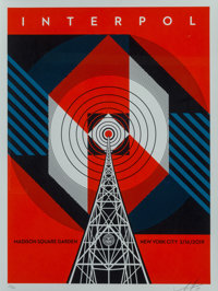 Shepard Fairey (b. 1970) Interpol NYC Calling, 2019 Screenprint in colors on speckled white paper