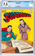 Golden Age (1938-1955):Superhero, Superman #27 (DC, 1944) CGC VF- 7.5 White pages....