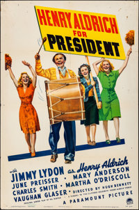 """Henry Aldrich for President & Other Lot (Paramount, 1941). Folded, Fine/Very Fine. One Sheets (2) (27"""" X 41&quo..."""