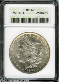 1891-O $1 MS62 ANACS. This O-mint Morgan has bright, white surfaces that reveal just a whisper of color clinging to the...