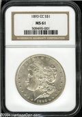 1893-CC $1 MS61 NGC. Lustrous with just a few light wisps of orange and the usual light scattered abrasions. A solid exa...