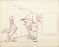 Animation Art:Production Drawing, Each Day I Crow Elmer Fudd and Rooster Preliminary LobbyCard Drawing (Warner Brothers, 1949)....