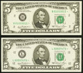 Fr. 1976-B*; L* $5 1981 Federal Reserve Star Notes. Very Choice Crisp Uncirculated or Better