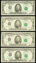 Small Size:Federal Reserve Notes, Fr. 1980-F*; H* (2) $5 1988A Federal Reserve Star Notes. Choice Crisp Uncirculated or Better;. Fr. 1983-H* $5 1993 Federal... (Total: 4 notes)