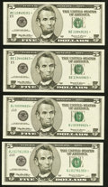 Small Size:Federal Reserve Notes, Fr. 1986-E* $5 1999 Federal Reserve Star Notes. Two Examples. Choice Crisp Uncirculated;. Fr. 1987-J* $5 1999 Federal Rese... (Total: 4 notes)