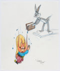 Animation Art:Production Drawing, Virgil Ross - Bugs Bunny and Yosemite Sam Drawing (Warner Brothers,c. 1990s)....