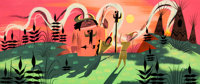 Mary Blair Peter Pan Indian Village at Night Concept/Color Key Painting (Walt Disney, 1953)