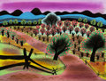 Animation Art:Painted cel background, Mary Blair Song of the South Georgia Orchard Color Key Background Painting (Walt Disney, 1946)....